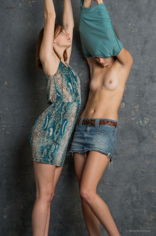 Голая и одетая девушки (12 фото)